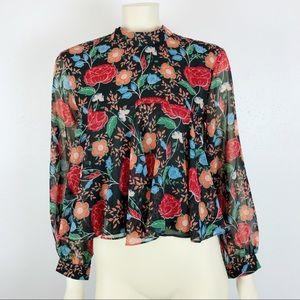 Zara Floral Print Mandarin Collar Tie Back Blouse